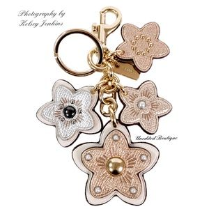 COACH Tea Rose Leather Bag Charm Keychain